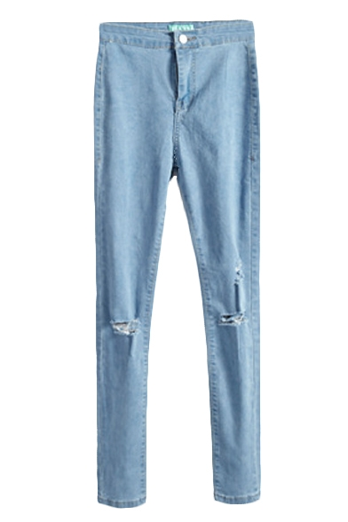 Plain Open Knit Zippered High Waist Pencil Jeans