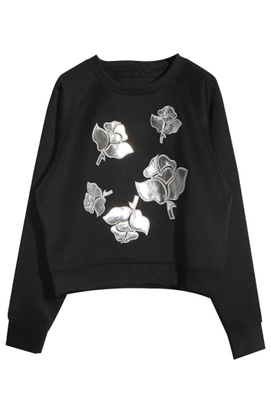 Round Neck Long Sleeve Pullover Embroidery Sweatshirt