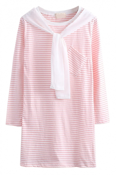 Stripe Long Sleeve Single Pocket T-Shirt Dress with Scarf