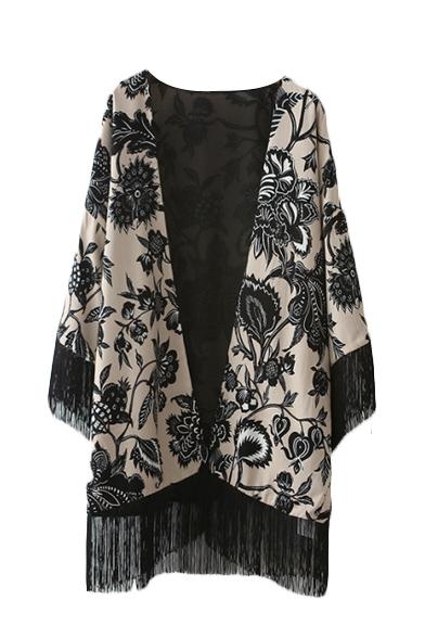 Tassel Hem Floral Print V-Neck Open Front Kimono