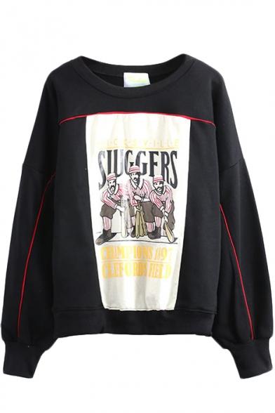Cartoon Print Long Sleeve Round Neck Sweatshirt