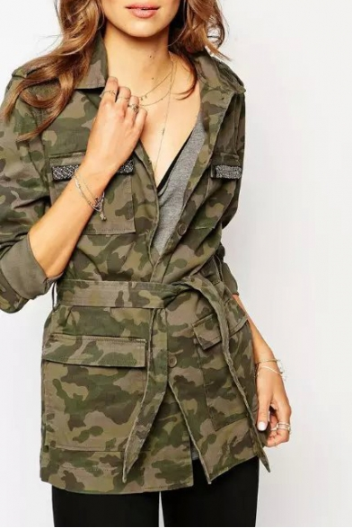 Lapel Camouflage Print Long Sleeve Pockets Tie Waist Coat