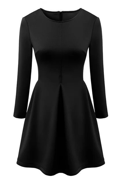 Plain Round Neck Zipper Back Long Sleeve Fit and Flare Dress