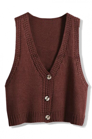 Plain V-Neck Single Breast Crop Knit Vest