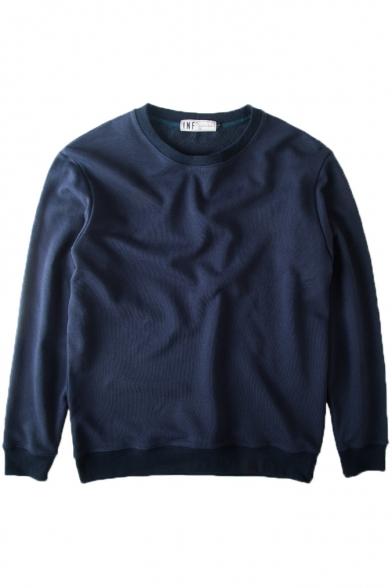 Neck Sweatshirt Long Round Pullover Plain Sleeve PqgwvwdH