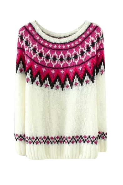 Round Neck Raglan Sleeve Wave Jacquard Knit Sweater