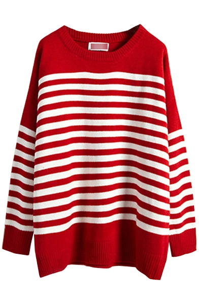 Striped Long Sleeve Round Neck Tunic Sweater