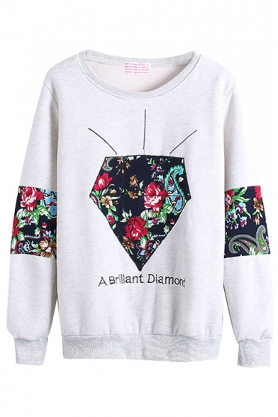Floral Print Round Neck Long Sleeve Sweatshirt