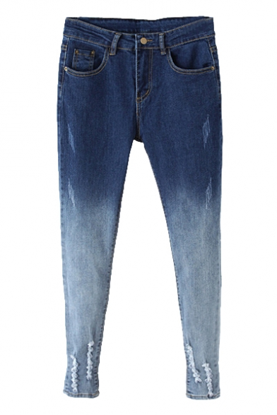Ombre Color Ripped Crop Jeans