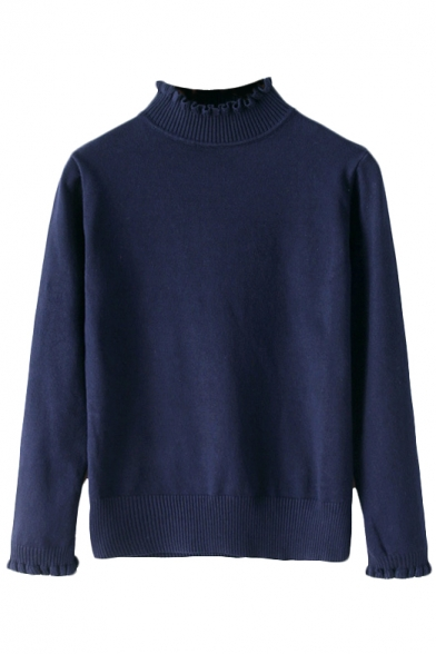 Plain  Long Sleeve Fitted High Neck Sweater