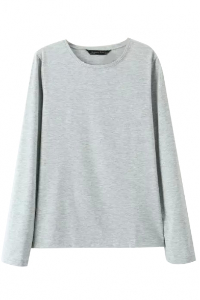 Round Neck Long Sleeve Plain Pullover Tee