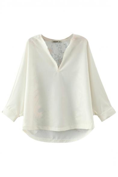 V-Neck Long Batwing Sleeve Bird Print Back Shirt