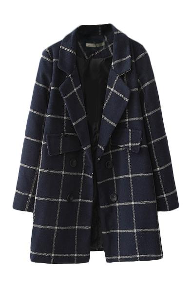 Double Breasted Lapel Long Sleeve Double Pocket Woolen Coat