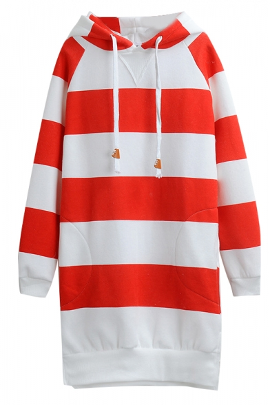 Hooded Long Sleeve Tunic Stripe Print Sweatshirt