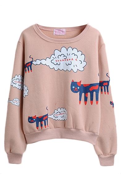 Long Sleeve Cartoon Print Round Neck Pullover Sweatshirt