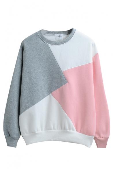 Round Neck Color Block Patchwork Long Sleeve Sweatshirt