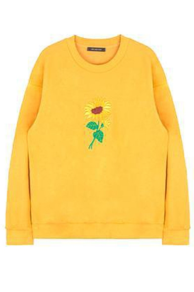 Round Neck Embroidery Floral Long Sleeve Sweatshirt