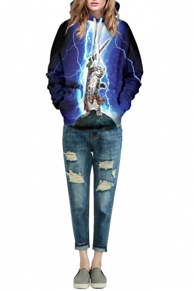 Blue Light Cat Print Double Pocket Hoodie