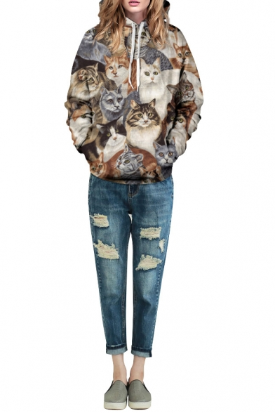 Cat Print Long Sleeve Laid Back Hoodie