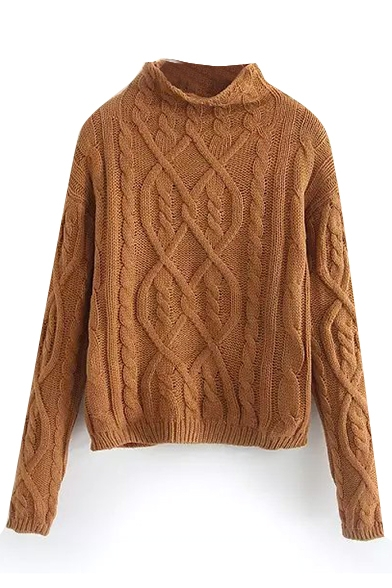 Plain High Neck Long Sleeve Cable Pullover Sweater