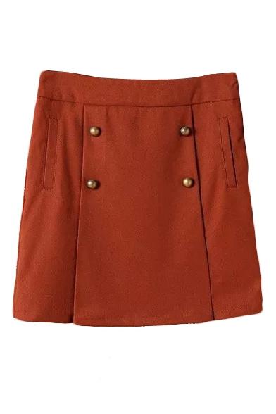 Plain Zip Side Four Buttons A-Line Mini Skirt