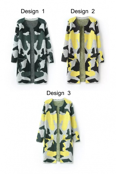 Round Neck Long Sleeve Camouflage Print Double Pocket Open Front Cardigan