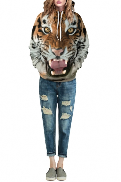 Tiger Print Long Sleeve Laid Back Hoodie