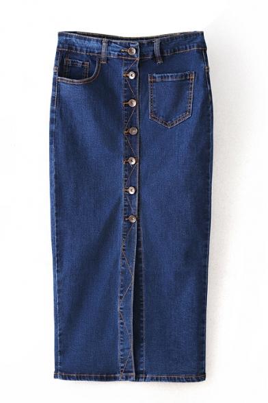 Button Fly Plain Split Front Denim Midi Pencil Skirt