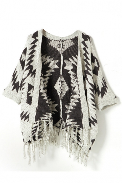 Geometric Pattern 3/4 Sleeve Tassel Trim Cardigan