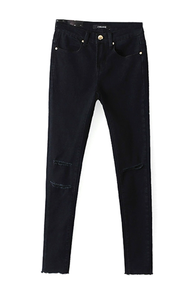 Black Single Button Zipper Ripped Knee Jeans