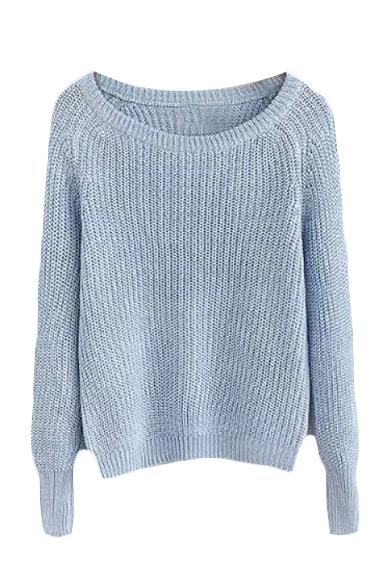 Plain Round Neck Raglan Sleeve Knit Sweater