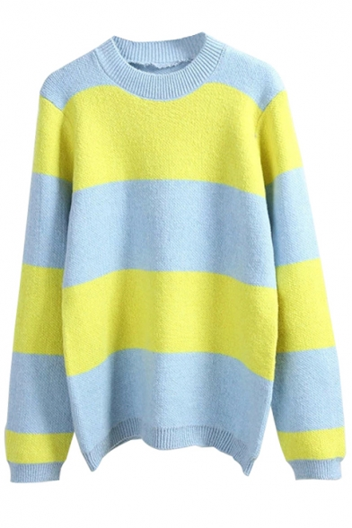 Round Neck Long Sleeve Color Block Stripe Sweater - Beautifulhalo.com