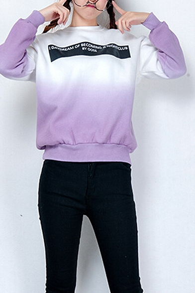 Sweatshirt Ling Pullover Sleeve Round Ombre Neck qw8X0R