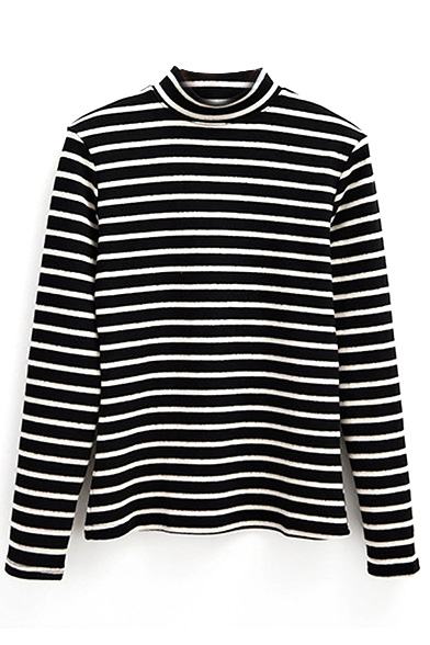 Stripe Print High Neck Long Sleeve Slim T-Shirt