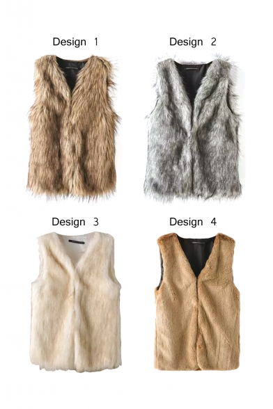 Faux Fur Fabric V-Neck Hidden Buttons Vest