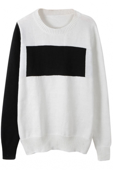 Round Neck Long Sleeve Color Block Sweater