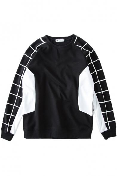 Round Neck Long Sleeve Pullover Plaid Detail Sweatshirt