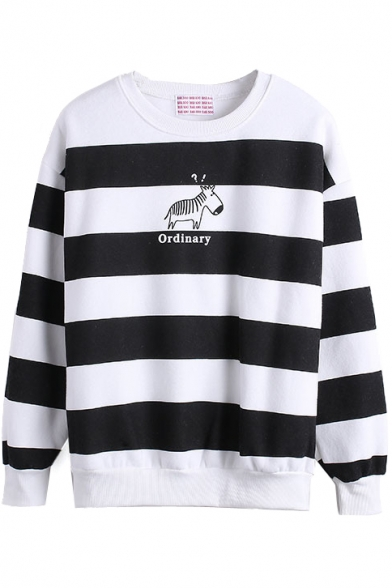 Stripe Print Letter Horse Pattern Long Sleeve Sweatshirt