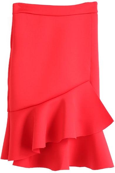 Zip Side Plain Ruffle Detail Pencil Skirt