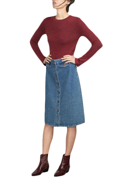 Button Fly Blue Denim A-Line Midi Skirt