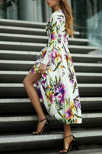 38bf50daa5a Floral Print Round Neck Long Sleeve Zipper Back Fit and Flare Maxi Dress