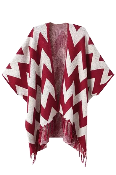 Geometric Pattern Colorblock Batwing Sleeve Open Front Tassel Hem Cape
