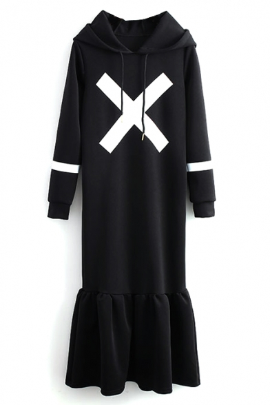 Hooded Black Cross Print Long Sleeve T-Shirt Dress with Ruffle Hem