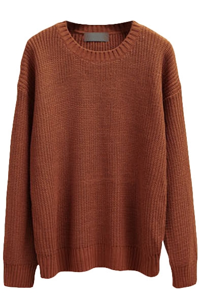 Plain Pull Over Round Neck Sweater