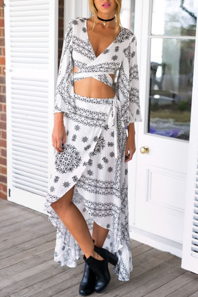 Wrap Front Long Sleeve Short Top with High Low Maxi Skirt
