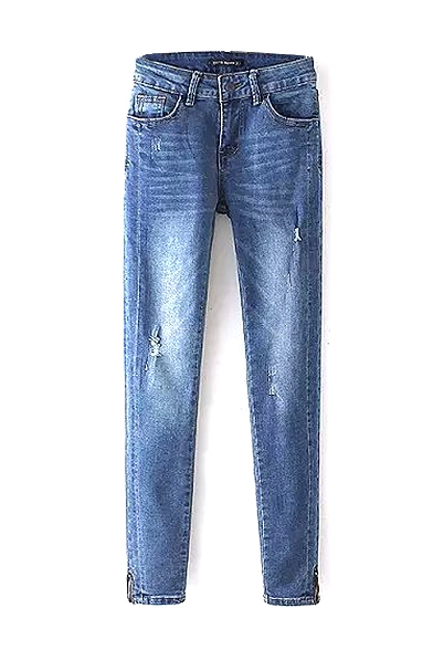 Light Wash Blue Zipper Ripped Jeans