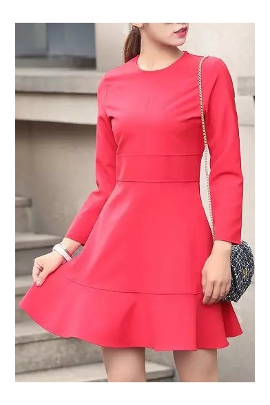 Round Neck Long Sleeve Plain A-Line Dress