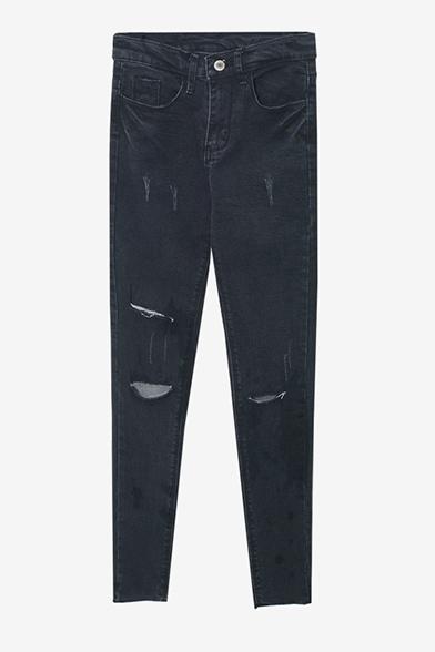 Zipper Fly Skinny Mid Waist Ripped Cigarette Jeans
