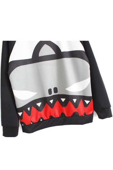 Black Raglan Long Sleeve Graffiti Print Sweatshirt