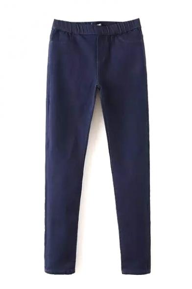 Elastic Waist Plain Double Pocket Skinny Jeans
